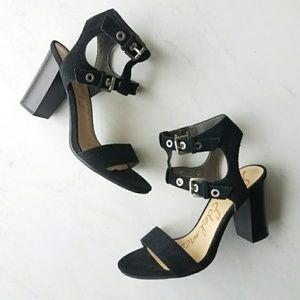 Sam Edelman Enya Navy Strappy Block Heel Sandals